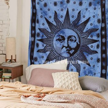 Blue Psychedelic Sun Face Tapestry - RoyalFurnish.com