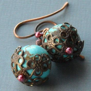 Winter BerriesTurquoise Drop Earrings by SharonPalacStudio on Etsy