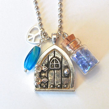 Fairy Wish Door Locket- Fairy Dust Mini Bottle Necklace and Fairy Door Charm with Magical Saying, Peace Heart Charm, Blue Green Bead