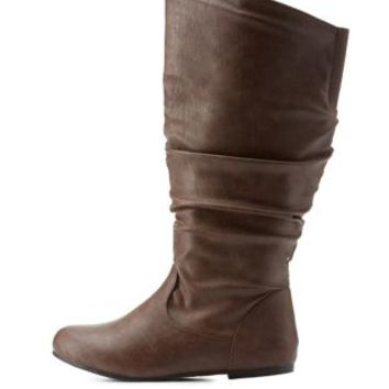 Brown Wide Calf Flat Ruched Mid-Calf Boots by Charlotte Russe