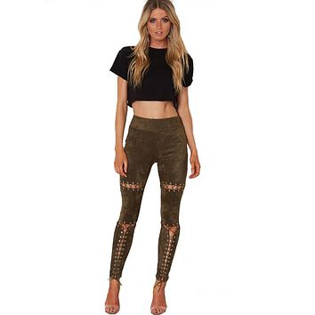 Women's Sexy Ripped Long String Buckle Skinny Pants