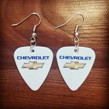 CHEVY logo symbol Chevrolet guitar pick earrings with bow tie girl jewelry