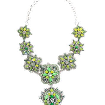 Deepa Gurnani  Fun in Marrakech Green Embroidered necklace - What's new