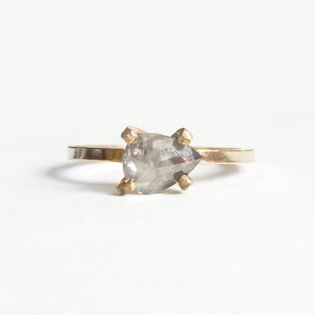 One of a kind - Quinn - Gray Diamond Pear Ring in your metal/size