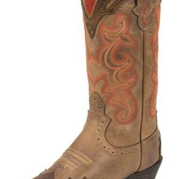 Justin Boots | Justin Silver Orange Embroidered Cowgirl Boots