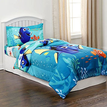 Disney Finding Dory 4 Piece Bedding Set Comforter and Sheets (Twin Size)