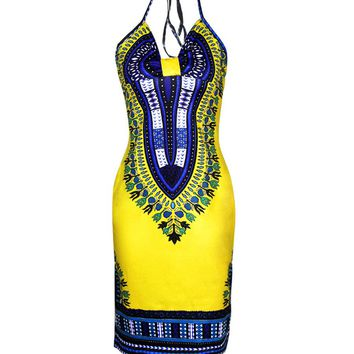 Casual Sexy Halter Backless Side Slit Tribal Printed Bodycon Dress