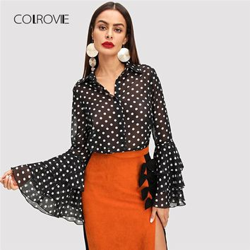 COLROVIE Black Tiered Ruffle Dot Print Elegant Blouse Shirt Women Long Sleeve Work Blouse Sexy Women Tops And Blouses