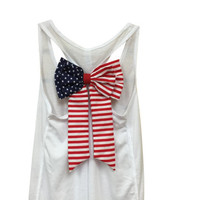 MORE COLORS, American Flag Bow Tank Top / Fourth of July Tank / 4th of July / Country Concert Tank / Gym Tank