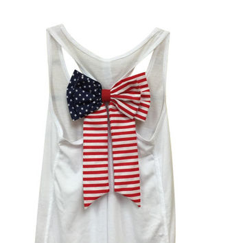 MORE COLORS, American Flag Bow Tank Top / Fourth of July Tank / 4th of July / Workout Tank Top / Gym Tank