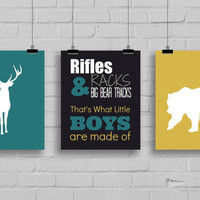 Rifles, Racks & Big Bear Tracks Print, Boy's Room Decor, Bear Hunting, Little Hunter, Deer Hunting, Hunting Nursery, Set of 3 Prints