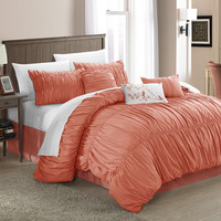 Francesca Pleated & Ruffled Peach 11 Piece Comforter Bed In A Bag Set