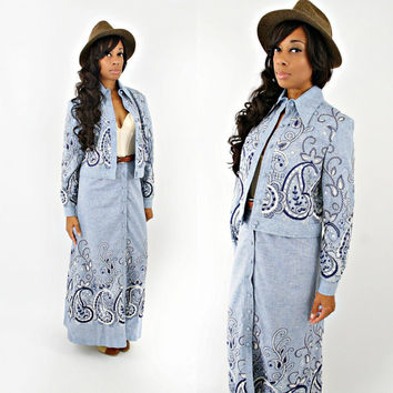 vintage 70s blue CHAMBRAY handkerchief PAISLEY hand stitched maxi skirt set size S/M