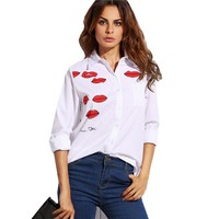 White Lip Print With Pocket Lapel Long Sleeve Buttons Front Shirt Office Ladies Work Wear Blouse