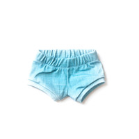 Organic Baby Shorties in Ocean Linen
