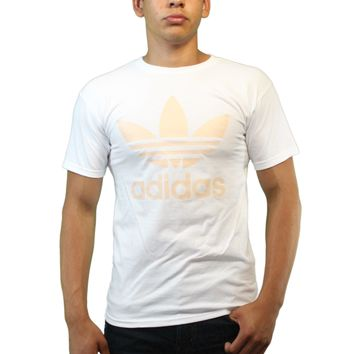 Adidas Classic Logo Peach Back Color Trefoil Men's White T-shirt