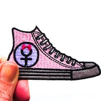 Feminist Patch, Women's March On Female Symbol Pussyhat Patch, Iron On Resist Patch, Pink Converse Patch for Jackets