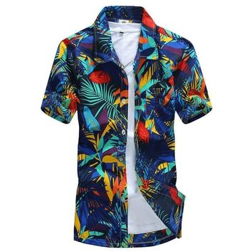 Mens Hawaiian Shirt Male Casual camisa masculina Printed Beach Shirts Short Sleeve brand clothing