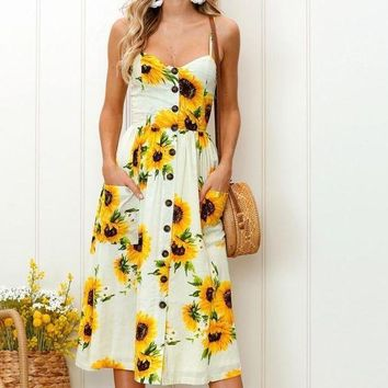 ICIKUN7 2018 spring and summer new printing harness long dress