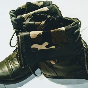 Madden Girl  green combat boots size 10