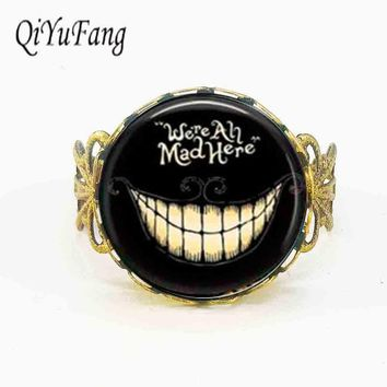 Steampunk movie Alice in Wonderland hatter We're all Mad 1pcs/lot bronze silver Ring jewelry rings mens birthday gift smile