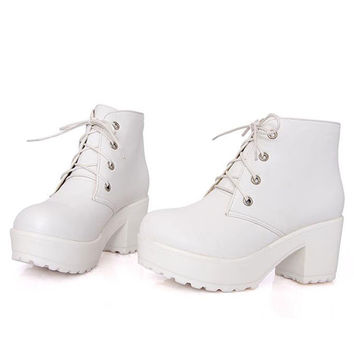Punk Style Women Boots Chunky Heels PU Leather