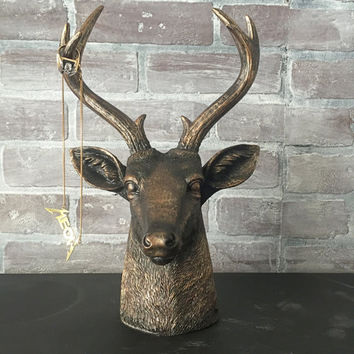 ANY COLOR Deer Head Bust Statue // Faux Taxidermy // Jewelry Hanger // Antler Decor // Bronze Stag Head // Antler Jewelry Stand // Woodland