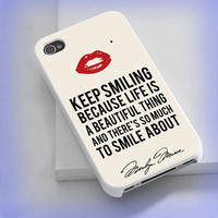 Cover phone case Keep Smiling Red Lips Marilyn Monroe Quote for iPhone 4/4s, iPhone 5/5s/5c, iPod 4/5, Samsung Galaxy s3/s4