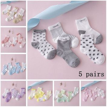 New 5 Pairs Baby Boy Girl Cotton Star Socks NewBorn Infant Toddler Kids Winter Warm Soft Sock