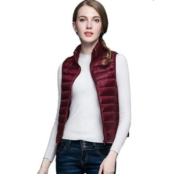 Winter Vest Women Waistcoat 90% White Duck Down Vest Ultra Light Down Vests Sleeveless Jackets Female Women Coats veste femme