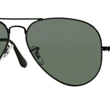 RAY BAN 3025 62 AVIATOR 002/58 BLACK GREEN G15 POLARIZED SUNGLASSES EYEGLASSES