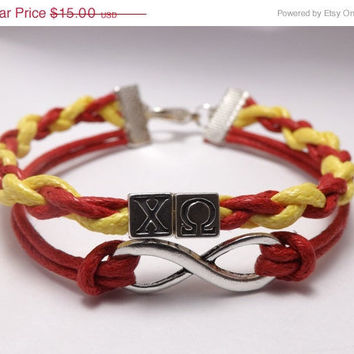 Chi Omega Infinity Bracelet  - Made in USA - Faux Leather - sorority gift - sister gift - greek gift