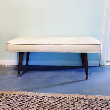 Bench Mid Century Vinyl Bench Danish Style Tufted Vinyl Cushion Bench Ottoman Coffee Table Eames Era Bench Faux Leather Entryway Bench
