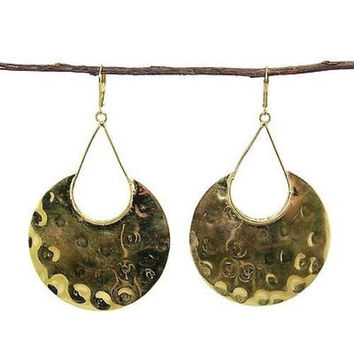 Goldtone Hammered Shield Earrings - WorldFinds