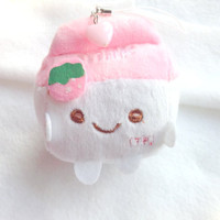 Cute milk plush phone charm, milk plushie, Kawaii plush keychain, stuffed doll, Anime phone strap, soft keychain, pink cotton, sweet lolita