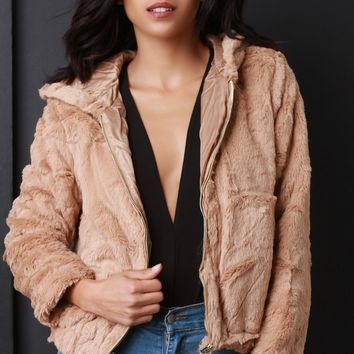 Soft Faux Fur Hooded Zip-Up Jacket