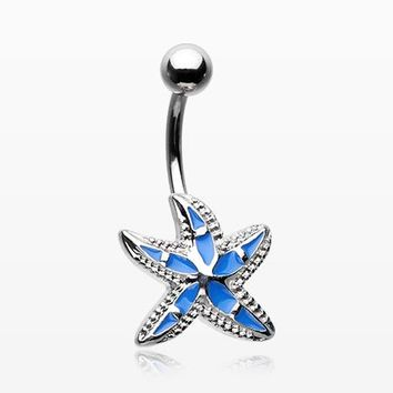 Ocean Blue Starfish Belly Button Ring