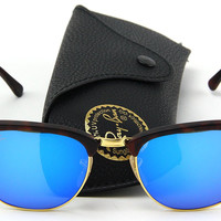 Ray-Ban RB3016 Clubmaster Flash Series Unisex Sunglasses (Sand Havana Frame / Blue Flash Lens 114517, 51)