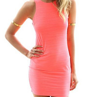 Pink V-Neck Sleeveless Mini Dress