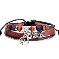 ZLYC Unisex Handmade Braid Vintage Style Leather Wrap Bracelet with Musical Notes Charms