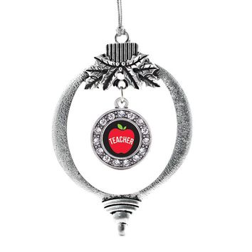 Apple are for Teachers Circle Charm Holiday Ornament
