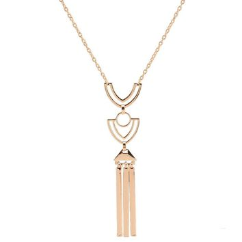 Casual Geometric Pendant Long Necklace
