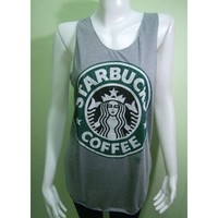 STARBUCKS Coffee T-shirt Women Tank Tops Pop Rock Punk classic Gray Size L Free shipping by Thaibest