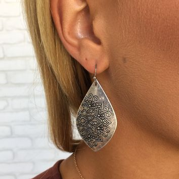 Lotus Drop Earrings in Silver