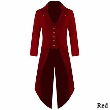 Men's Coat Vintage Steampunk Retro Tailcoat Jacket Long Sleeve Single Breasted Gothic Victorian Frock Coat Plus Size 4XL#257805
