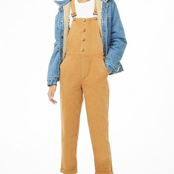 Corduroy Button-Front Overalls