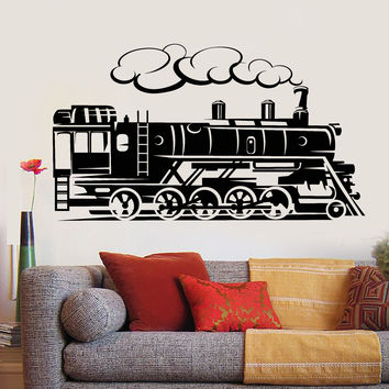 Vinyl Wall Decal Retro Vintage Train Railway Nursery Playroom Stickers Unique Gift (894ig)