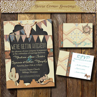 NEW SOUTHWEST Wedding Invitation Suite Digital file Rustic wedding invitations Country Tribal Cactus Lizard sun Vegas Teal copper cream