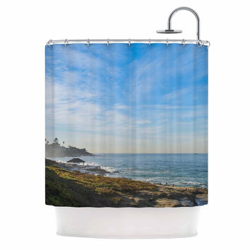 "Nick Nareshni ""Blue Sky Over The Ocean"" Teal Coastal Shower Curtain"
