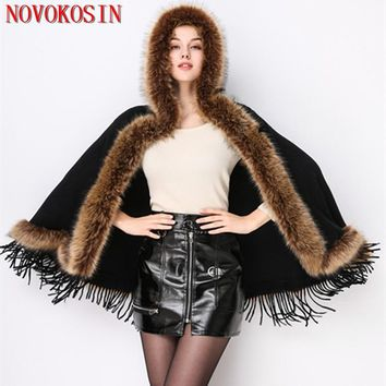 2018 Real Sample Winter Warm Fake  Fur Long Knitted Tassel Poncho Autumn Cashmere Sweater Women European Cardigan Coat With Hat